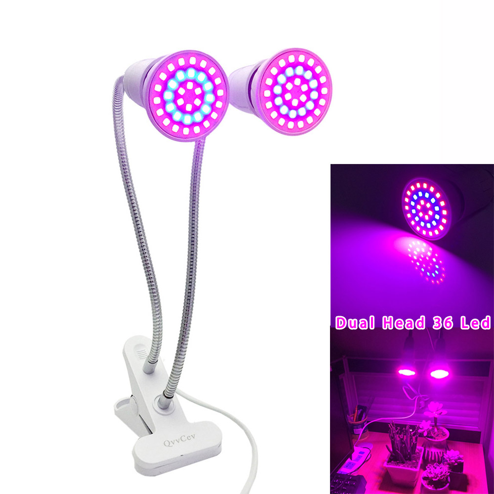 Dual Head 36 LED Plant Grow Light Red Blue Lamp Growing E27 Clip Holder For Flower Indoor Greenhouse Hydroponic Veg System EU