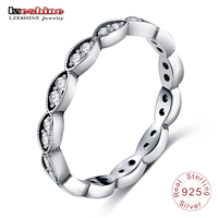 LZESHINE Authentic 925 Sterling Silver Leaves Stackable Rings Cubic Zirconia Inlayed Classic Party Jewelry Bijoux PSRI0021