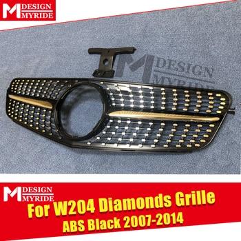 W204 C Sınıfı Spor Izgara Izgara Elmas ABS Siyah Sınırları Ile C180 C200 C250 C63 Görünüm ön Izgaralar 07- 14 Için Değil C63AMG 07-14