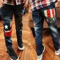Бесплатная доставка 2016 спринт осень новых мальчиков джинсы дети и замши ковбойские джинсы мальчик брюки B022
