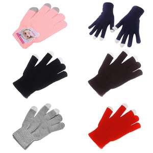 Unisex Short Finger Gloves Ribbed Knitted Magic Touch Screen Texting Wrist Length