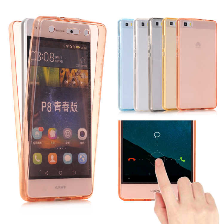For Huawei Ascend P8 Lite / P9 Lite Case Cover Soft TPU Full body Protective Crystal Clear front back Phone Cases celular capa