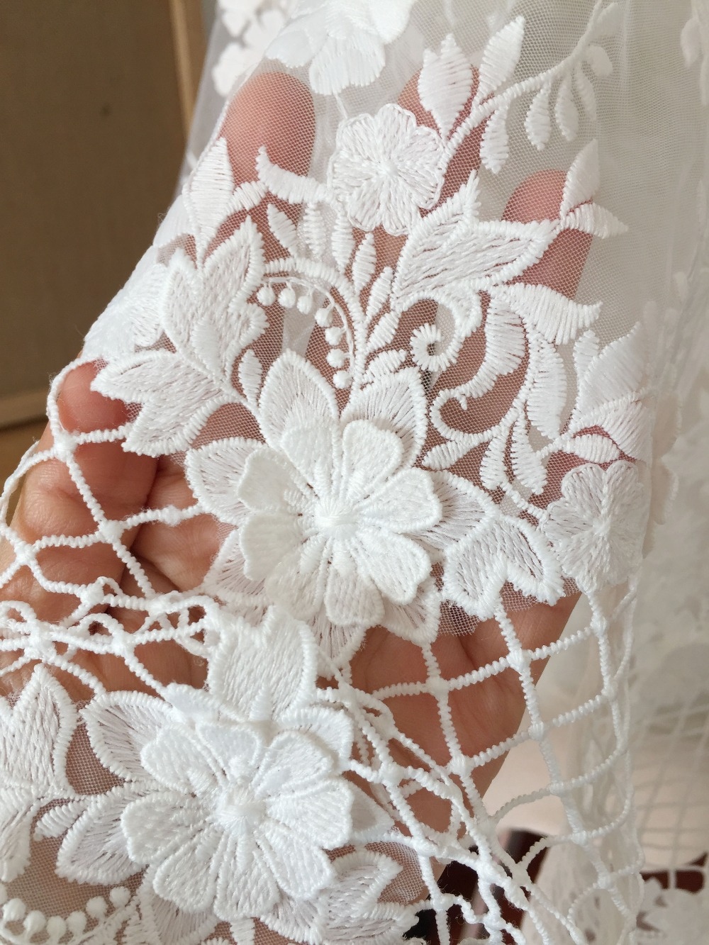 5 yards 3D Hollowed Guipure Lace Fabric Off White with Petals, Tulle Embroidered Lace Fabric by Yard for Wedding Gown Prom Boho