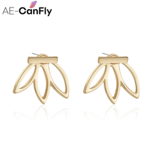 AE CANFLY Fashion Design Earrings for Women Hollow Out Leaf Flower Stud Earrings Simple Metal Ear