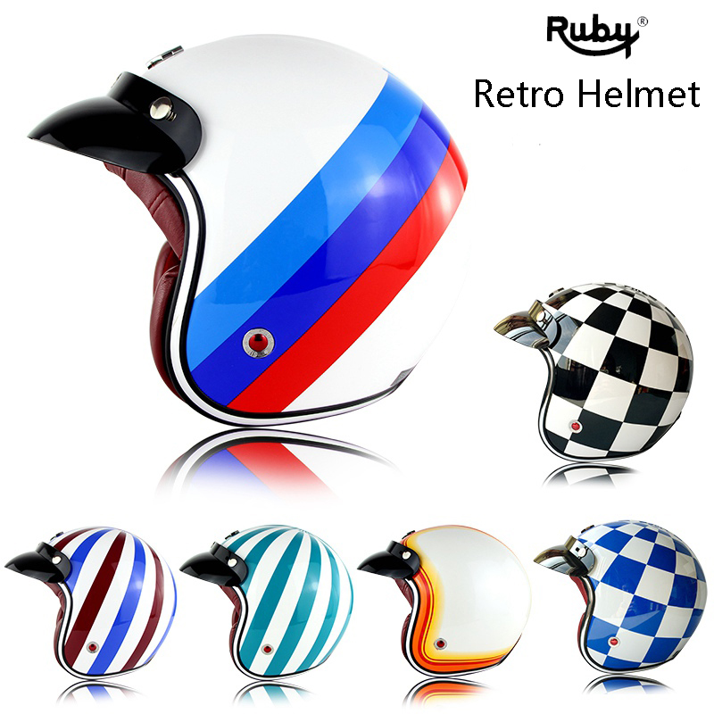 Ruby Pavilion Vintage Motorcycle Harley Helmet  Motor Bike Capacetes Open Face Casco Retro Helmet gxt dot approved harley motorcycle helmet retro casco moto cascos dirt bike open face vintage downhill helmets for women and men