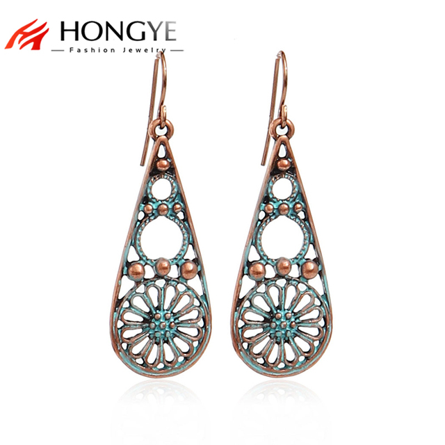 Brincos Vintage Earrings for Women 2018 New Arrival Jewelry Antique Gold- Color Flower Hollow Out Drop Earrings Indian Jewelry 53da79c648f7
