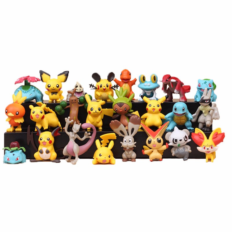 24pcs/set 4-5cm Anime Toys For Kids Christmas Gifts Cartoon Anime Pokemones Action Figure Toys Model Decoration Toy Set