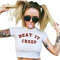Hip Hop Mujeres Remata camisetas 2017 Del Verano Corto Batsleeve Camisetas Blanco carta Ritmo Que Se Meten Kawaii Harajuku Gimnasio Plus Size T Shirt