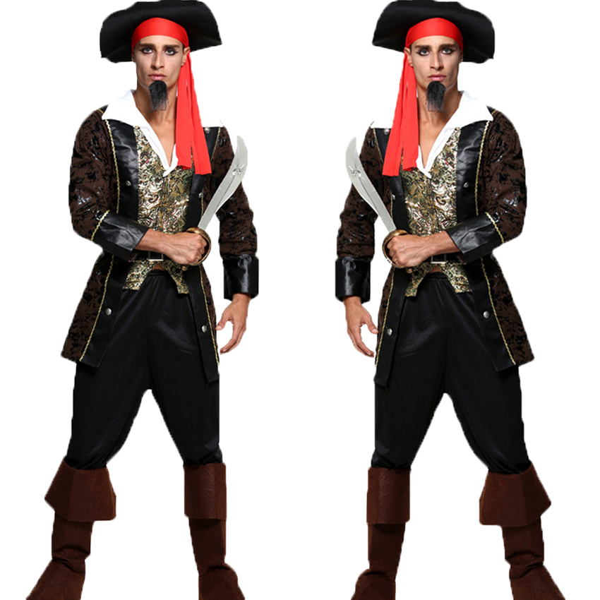 Halloween Pirates of The Caribbean Jack Sparrow Buccaneer Cosplay Costumes Men Cap+tops+pants+belt+boots Carnival Set