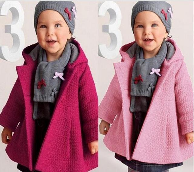 Varejo 2017 novo bebê da menina casaco rosa puro inverno quente crianças outwear trincheira moda infantil roupa por atacado e Frete grátis