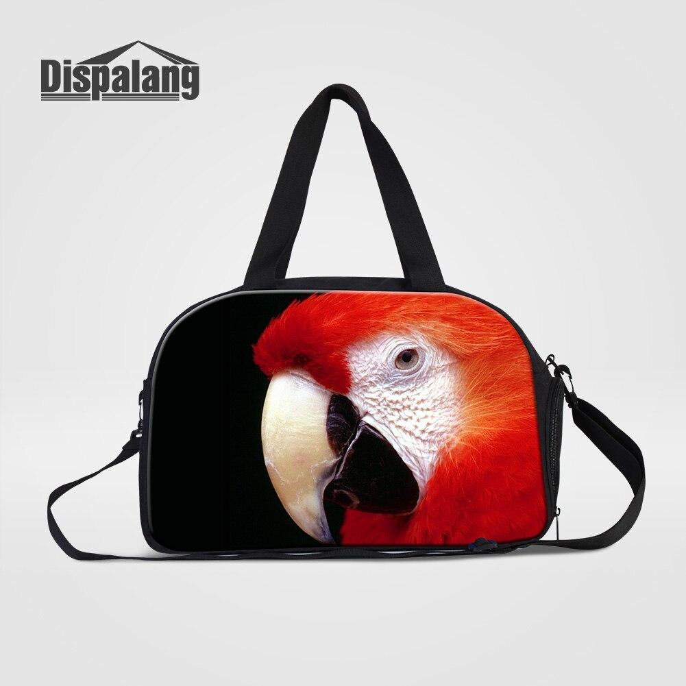 Dispalang Cute Parrot Animal Printing Women Canvas Duffle Bag With Shoes Pocket Bird Pet Design Weekend Bags Girls Overnight Bag