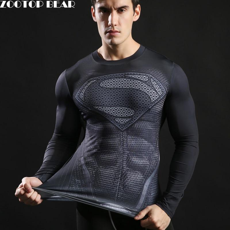 Superman Printed Tshirts Men Compression Top Fitness T-shirts 2017 Novelty Slim Summer Tight Tee Superhero ZOOTOP BEAR