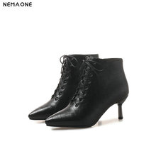 NEMAONE Women 5cm high heels ankle work Boots autumn Winter office Ladies boots black gray red lace up women shoes large size 43