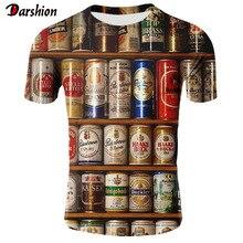Новинка, Мужская 3D футболка в стиле хип-хоп с принтом банок пива, Мужская/женская футболка с круглым вырезом и коротким рукавом, топы