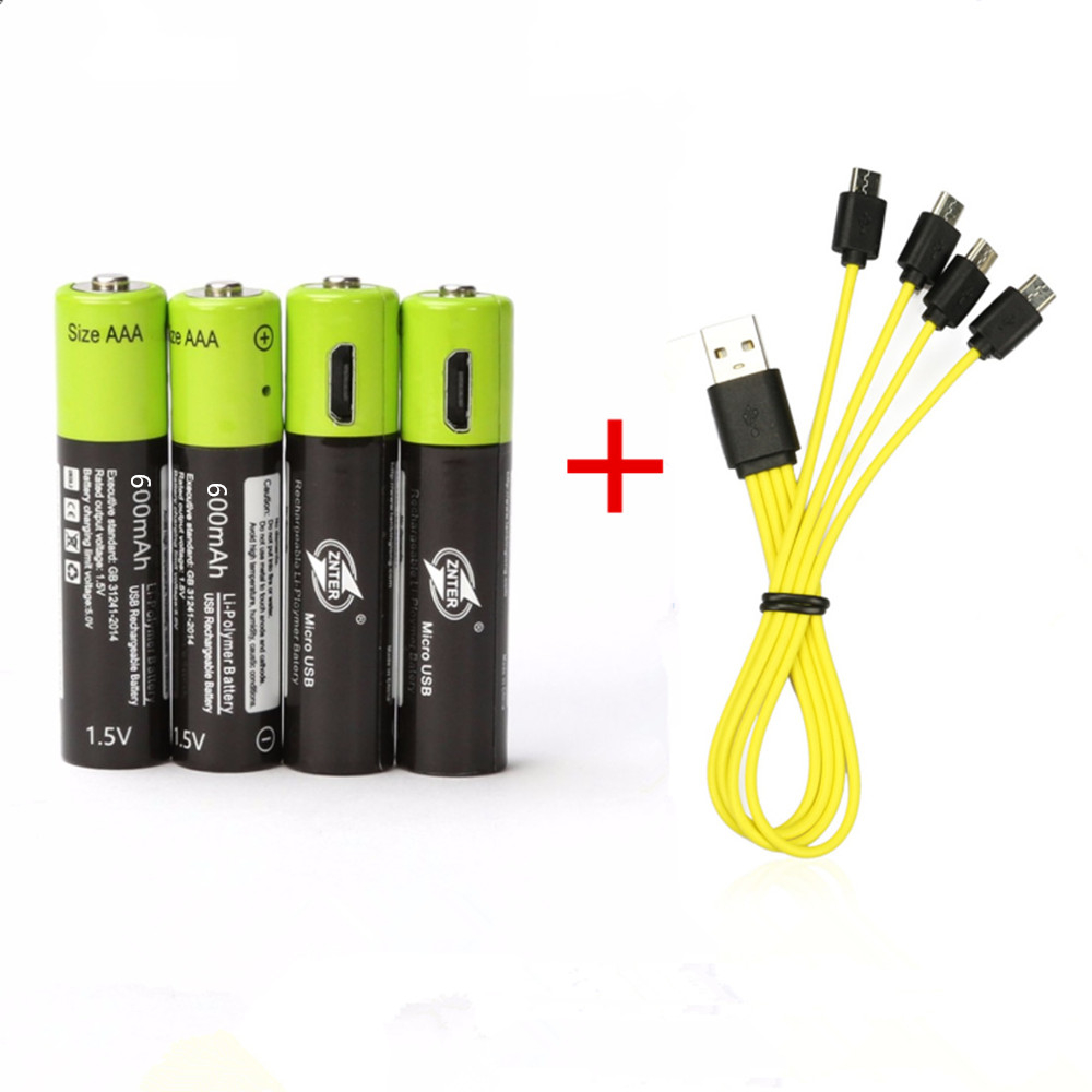 4PCS ZNTER 1.5V AAA 600mAh rechargeable lithium battery USB lithium polymer rechargeable battery+4 in 1 Micro USB charging cable