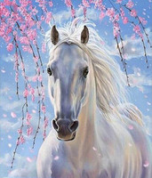 Home Decoration Gift Full Diamonds White Horse Mosaic Diamond Cross Painting Stitch DIY 5D Round Diamond