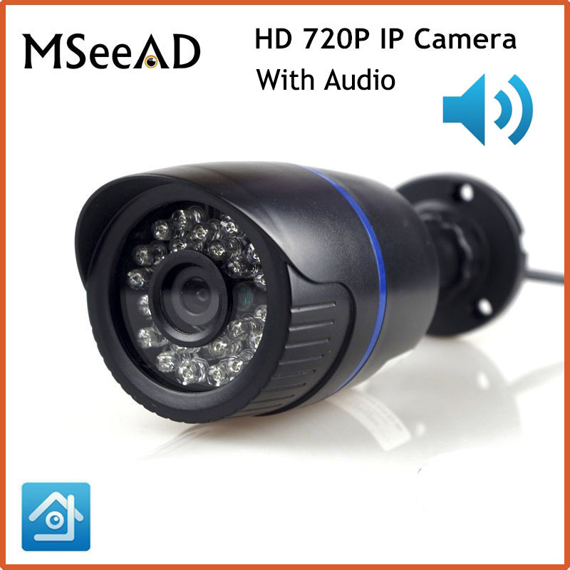 HD 720P IP Camera 1.0MP Bullet Outdoor CCTV Security Camera Network IPC ONVIF Waterproof Night Vision P2P IP Cam With Audio bullet camera tube camera headset holder with varied size in diameter