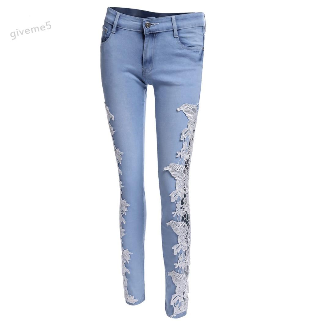 Women Slim Skinny Lace Jean Crochet Stretch Denim Hollow Out Sheer Pencil Pants