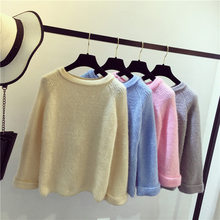 O Neck Long Sleeve Korean lurex Women Pullover Sweater Harajuku Pink Thick Femme Hiver Oversize White Knitted Ribbed