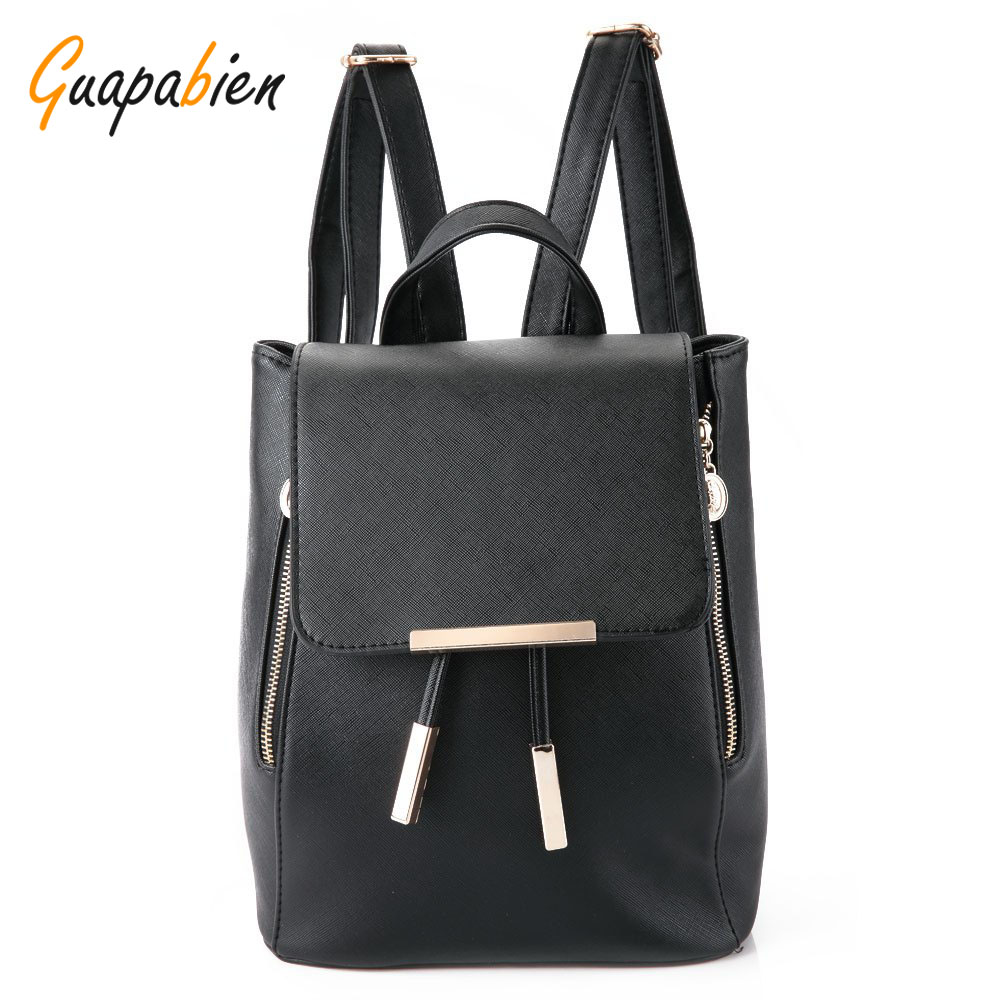 Guapabien PU Leather Women Backpack Preppy Schoolbags For Teenagers Girls Top handle Backpacks Candy Color Travel