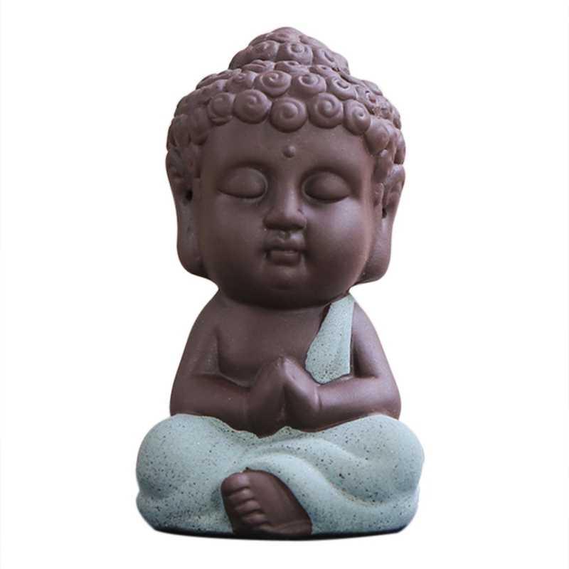 מיני קרמיקה בודהה פסל תה Dools בונסאי גן תפאורה נזיר צלמית מזרחי תרבותית קישוט עסיסי צמח