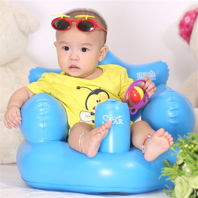 Bath seat Dining Chair Baby Inflatable Sofa PVC Pushchair Baby Chair Portable Baby Seat Play Game Mat Cute Safety Sofa