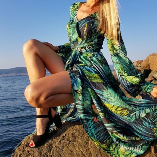 Long Sleeve Floral Print Maxi Dress  1
