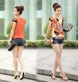 BK Fashion Women Clothing T Shirt Tees Short Sleeve Chiffon Tshirts Vintage Print Women T-Shirts Tops