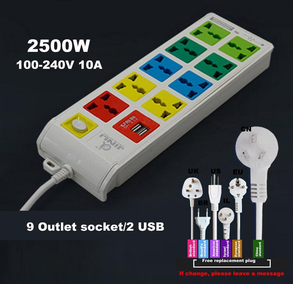 все цены на AU EU US 100~240v 10A Surge Protected 9 Outlet & 2 USB electric switch and socket онлайн