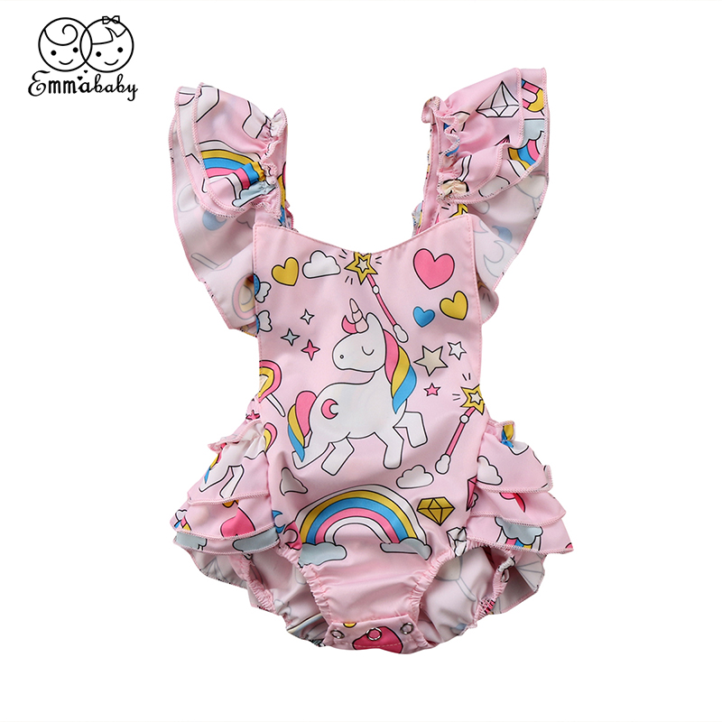Lovely Newborn Baby Unicorn Bodysuit Summer Ruffles Sleeveless Backless Tutu Skirted Jumpsuit Outfits Sunsuit Clothes blue cut out sleeveless choker bodysuit