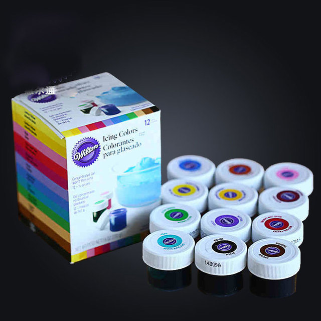 12 Colors America Wilton Food Coloring Fondant Cake Cream Pigment ...