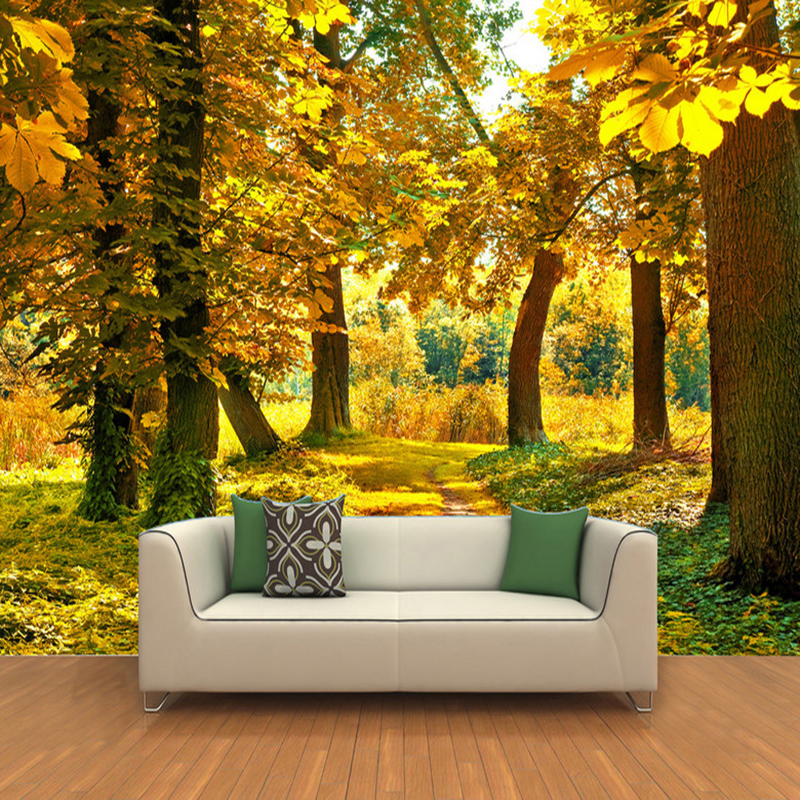 Hd autumn forest maple leaf 3d mural nature photo for Nature wallpaper designs for living room