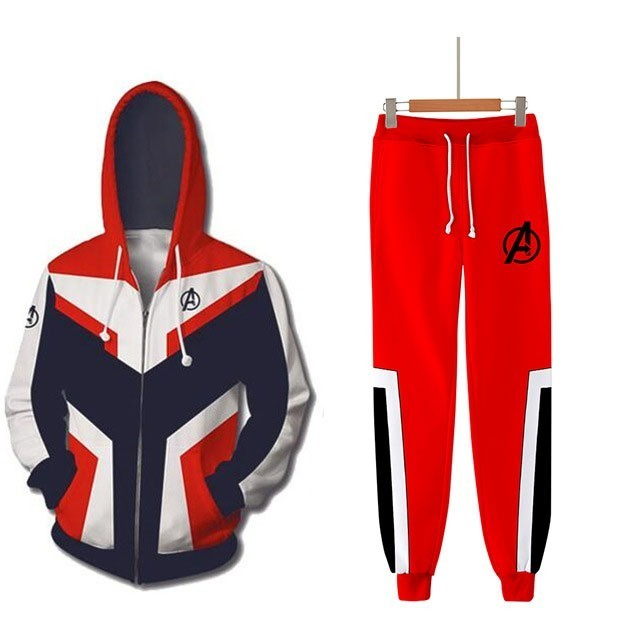 Avengers Endgame Quantum Realm Brand Tracksuit Men Sportswear Two Piece Sets Hooded Sweatshirt+Pants Sporting Suit Male Outfits