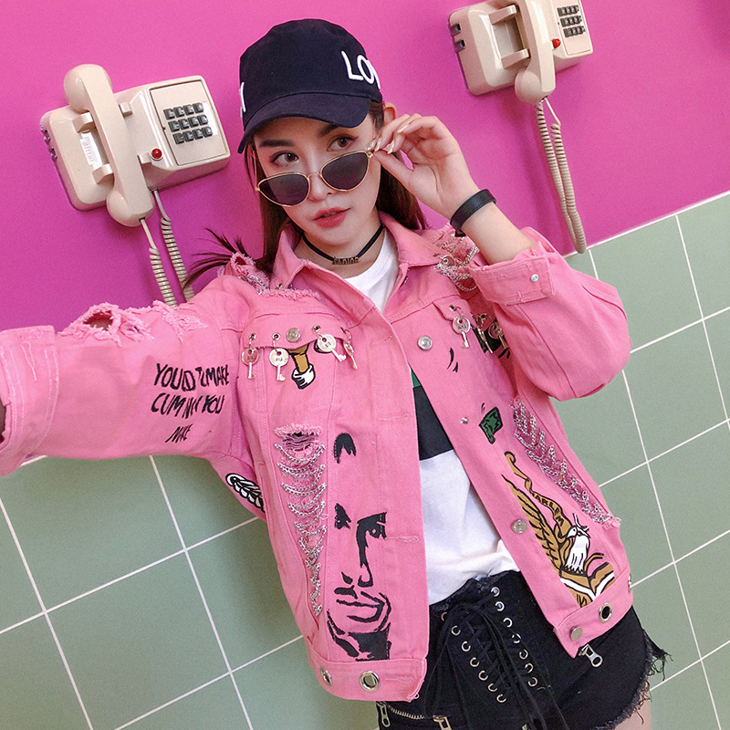 Manteau Outwear Femmes Impression Printemps Nouvelles Décoré Motif Mode De Denim Chaînes Veste Lettre Évider Rose Patchwork ZS6Rfx