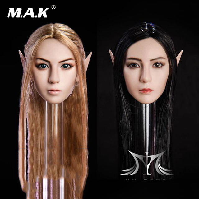 1 6 Elf Girl Head Carved Black Hair Detachable Ears Female head Model For  12