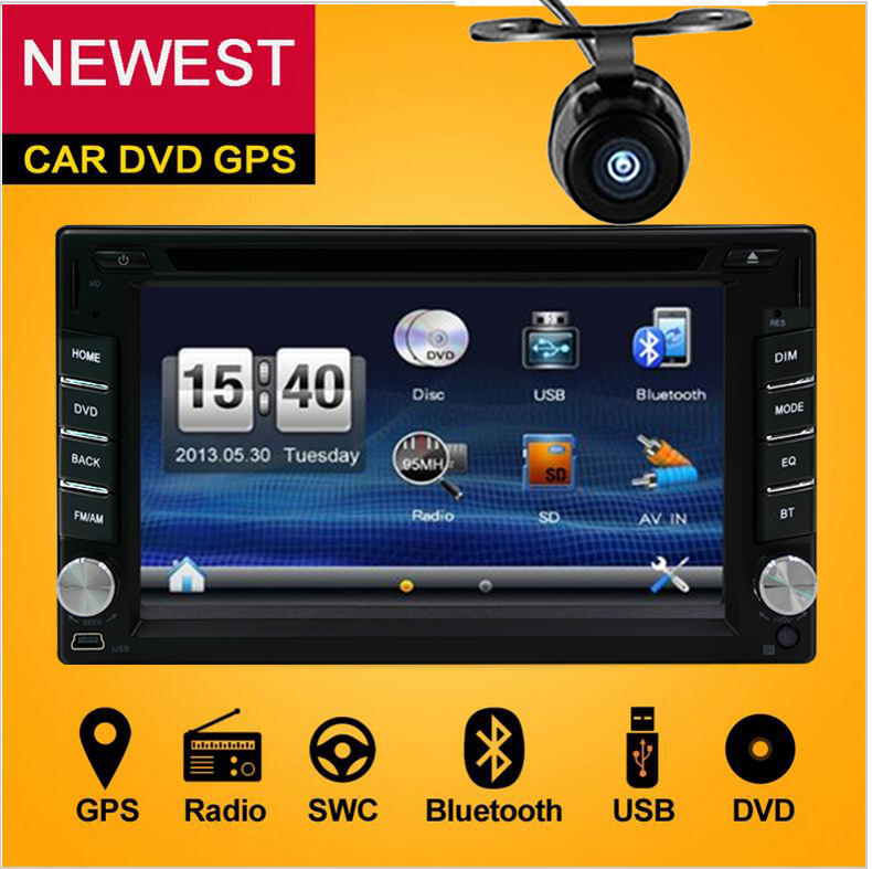 Double din Car autoradio GPS map Navigation 2din Car DVD Player with Bluetooth Stereo video+Camera+steering wheel+GPS Navigation 2 din car multimedia video player bluetooth stereo fm radio mp4 mp5 audio steering wheel auto electronics 2din autoradio no dvd