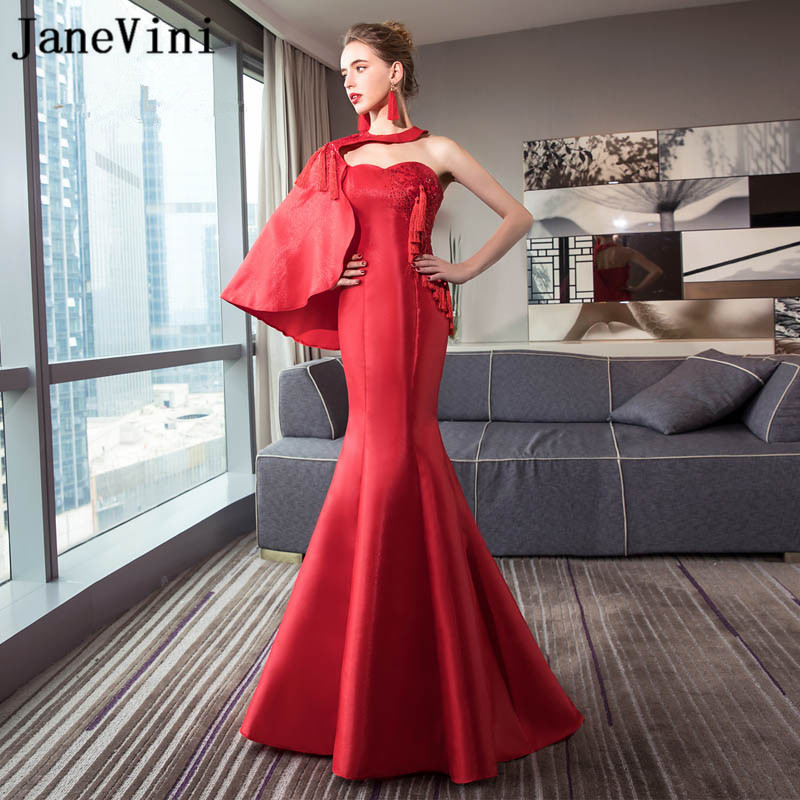 JaneVini Vestidos Chic Red Mother of Bride Dress 2018 Mermaid Tassel Sequins Beaded Backless Satin Sweep Train Robe Arabe Longue