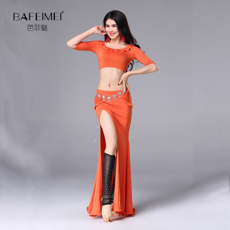 US $28 78 35% OFF|Lady Belly Dance Dress 2pcs Belly Dancing Costumes Top  and Skirt Female Oriental Dance Perform Suit Samba Dancing Suit D 0061-in