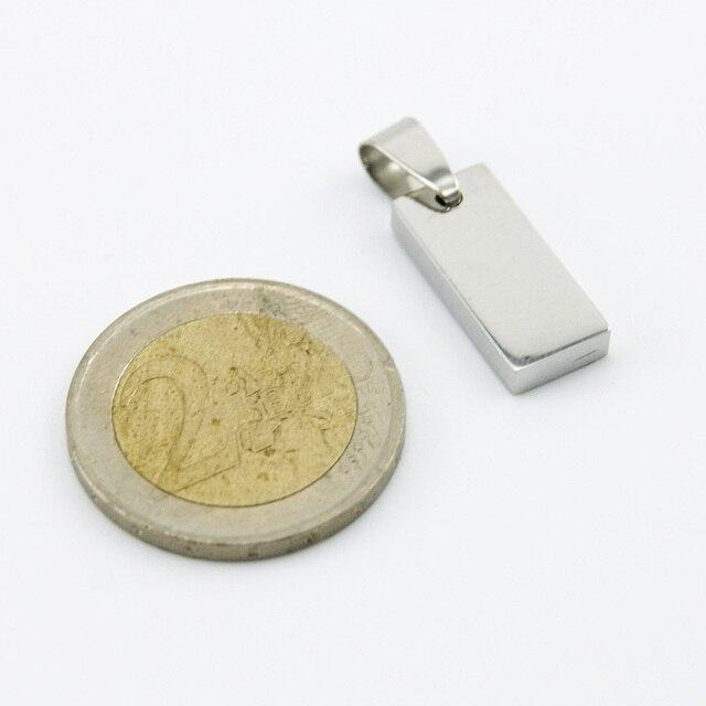 Petit petit rectangle breloques à assembler soi-même mode haute polonaise petite brique pendentif étiquettes en acier inoxydable métal collier en gros 100 pièces