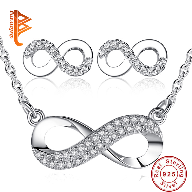 BELAWANG European Wedding Jewelry Set 925 Sterling Silver Pave Crystal Infinity Bowknot Necklace Earrings For Women Gift цена 2017