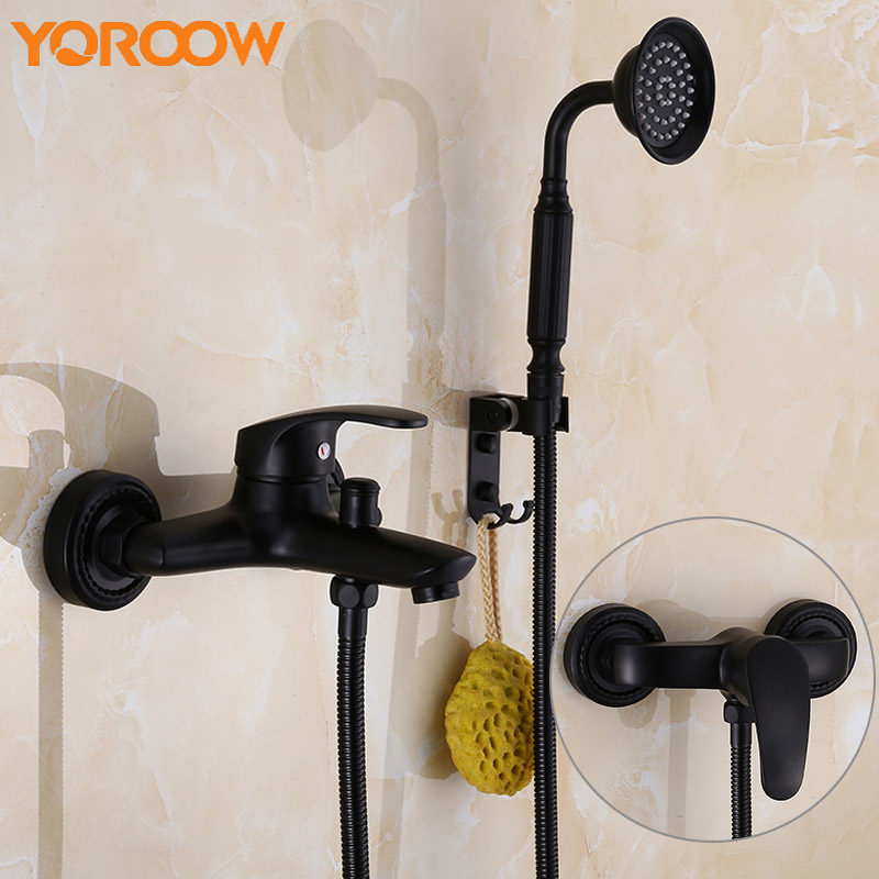Black Bronze Bathroom Tap Bathtub Bath Tub Antique Telephones Mixer Single Wall Mount Water Faucet Mixing Hot And Cold YM0003 china sanitary ware chrome wall mount thermostatic water tap water saver thermostatic shower faucet