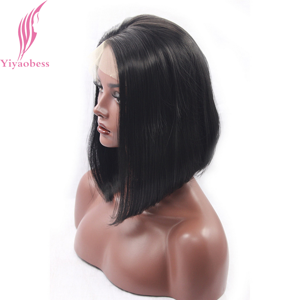 Yiyaobess 1# Short Black Lace Front Wig Straight Synthetic Hair Glueless Personality Design Bob Wigs For Women High Temperature