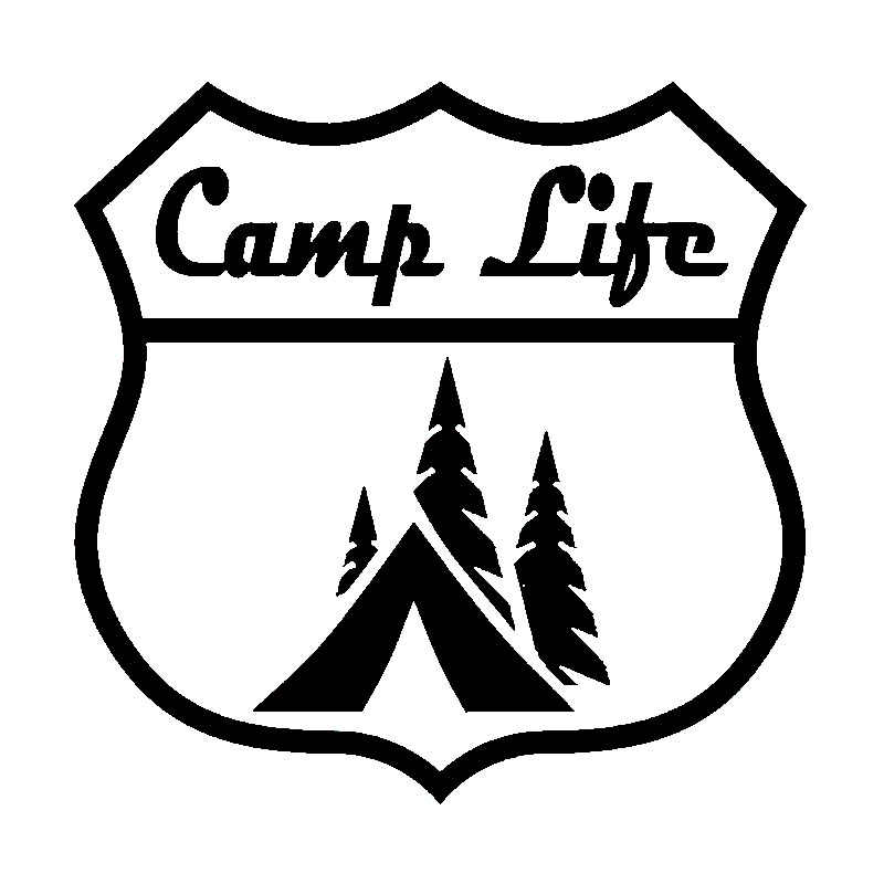 14X14CM CAMP LIFE Roadsign Camping Hiker Outdoor Originality