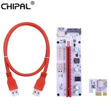 Chipal 60cm 100cm ver008s pci-e riser cartão 008s pci express pcie 1x a 16x adaptador 4pin 6pin sata power para mineração de mineiro bitcoin