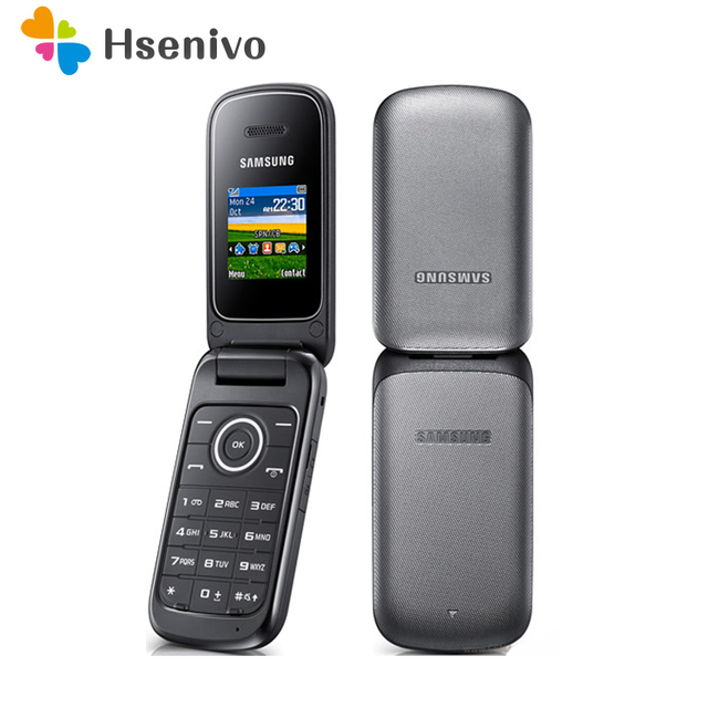 Original Samsung E1190 GSM 1.43 Inches 800mAh Mini-SIM Black Only Refurbished Cellphone Unlocked Old Flip Mobile Phone