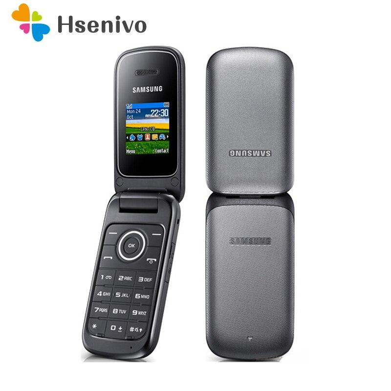 Original samsung e190 gsm 1.43 polegadas 800 mah mini-sim preto apenas remodelado celular desbloqueado velho flip telefone móvel