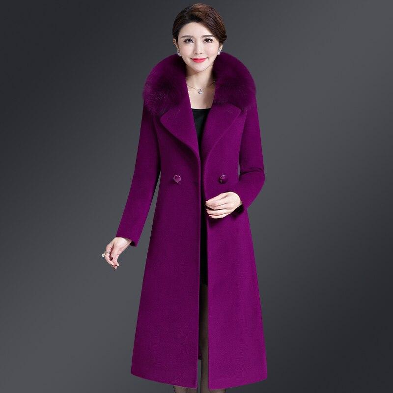 2019 Neue Herbst Winter Woolen Mantel Frauen Medium Lange Drehen-unten Zweireiher Wolle Mantel Mit Pelz Colar Ladys Elegante Oberbekleidung Billigverkauf 50%