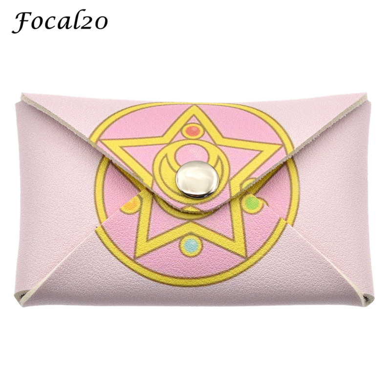 Focal20 Sweet Sailor Moon Pink Women Coin Case Square Hasp Female Coin Purse Zero Wallet Change Key Card Holder modella personal purse case pink polka dots 2 count