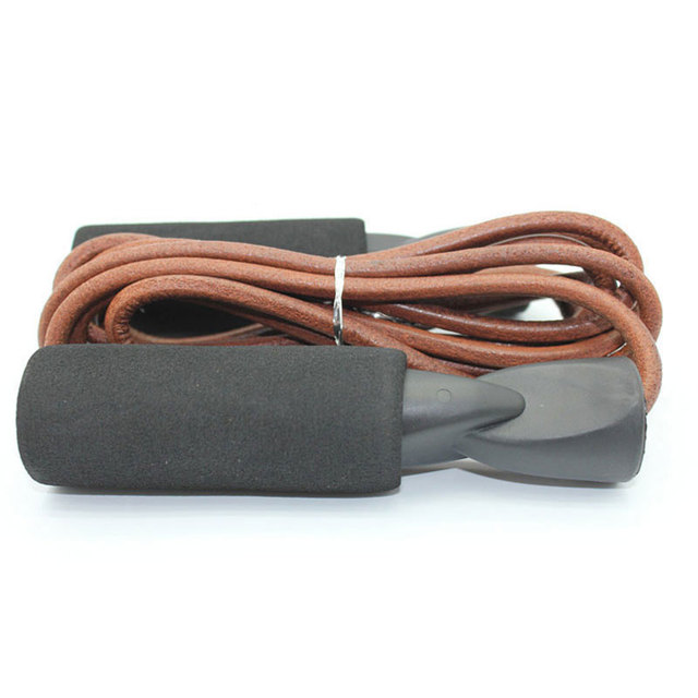 Cowhide Rope leather Skip Rope Cord Speed Fitness Aerobic Jumping Exercise Equipment Adjustable Skipping Sport Jump Rope