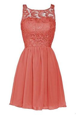 Cheap-Sheer-Neckline-Coral-Black-Purple-Silver-Lace-Short-Bridesmaid-Dresses-2015-Elegant-Chiffon-Wedding-Party